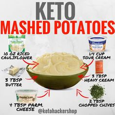 KETO MASHED POTATOES Here is a delicious recipe for Cauliflower Mashed Potatoes by @ruledme! CALORIES/MACROS This makes 3 servings of…