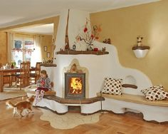 It is nice to have a fireplace you can use as a warm place to sit. I lik the soft angles too. Home Furnace, Earthship Home, Interior And Exterior, Interior Design, Tadelakt, Natural Homes, Home Fireplace, Fireplaces, Earth Homes