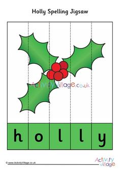 This lovely, simple holly spelling jigsaw would make a lovely stocking filler! Print onto some card and slice down the lines, then pop into a small bag or box. Some Cards, Spelling, Activities, English, English Language, Games