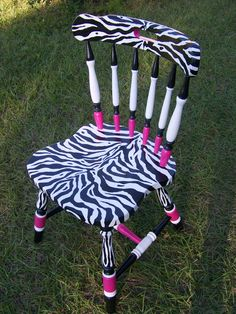 Zebra Stripes and Hot Pink Dinner Desk Chair
