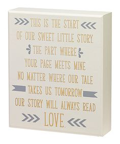 Look at this #zulilyfind! 'Our Sweet Story' Box Sign by Collins #zulilyfinds