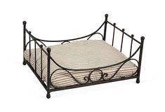 Iron Dog Bed w/ Ticking Cushion