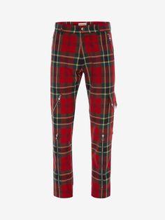 Alexander Mcqueen Flared Viscose Blend Tartan Pants In Red Tartan Pants, Red Pants, Tartan Fashion, Fashion Pants, High End Fashion, Alexander Mcqueen, Ready To Wear, Man Shop, How To Wear