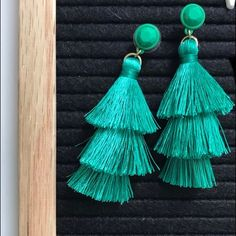 J. Crew Jewelry | J Crew Tassel Earrings | Poshmark Green Tassel Earrings, Drop Earrings, Tassels, Polka Dots, Women Jewelry, Outfit, Things To Sell, Outfits, Drop Earring