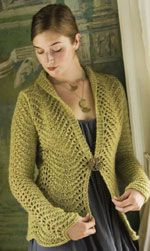 Tailored Scallops Cardigan - design by Pam Allen.  One of 7 Free Knitted Lace Patterns