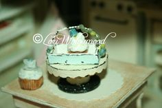 Sweets Cupcakes No.14 Blue Roses Basket Shabby and Whimsy Handmade  - OOAK