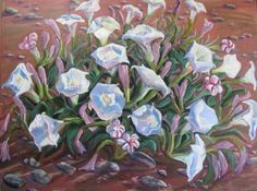 """""""Datura in the Morning"""", Acrylic on canvas, 30 x 40""""  $1200  #PollyJackson is an artist from #Albuquerque, #NewMexico, USA, whose #paintings I admire.  Would you love to own one of her paintings that I have pinned? Contact her at: Email: artistpolly@gmail.com      Website:  http://www.pollyjackson.com  http://facebook.com/artistpolly"""