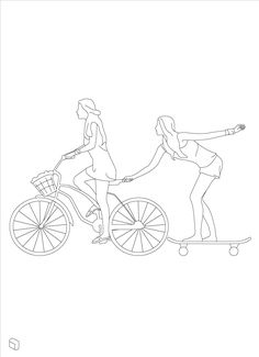 Cad Dwg Woman Riding Bicycle - All For Garden Cool Art Drawings, Art Drawings Sketches, Silhouettes, Couple Art, Drawing Techniques, Minimalist Art, Autocad, Line Drawing, Line Art