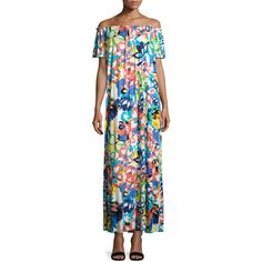 Rachel Pally Ossi Printed Off-the-Shoulder Maxi Dress (14.360 RUB) ❤ liked on Polyvore featuring dresses, flores, womens plus size maxi dresses, plus size short dresses, off shoulder dress, plus size off the shoulder dress and women plus size dresses
