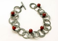 Silver,bracelet,with,red,corals,silver chamber jewellery, sterling silver jewellery, art jewellery online, silver bracelet, bracelet with co...