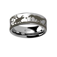 Prehistoric Dinosaur Jurassic Themed Portrait Ring Engraved Flat Tungsten Ring - 4mm - 10mm This is a precision crafted ring from our line of Comfort Fit Tungsten Carbide Rings with a landscape portra