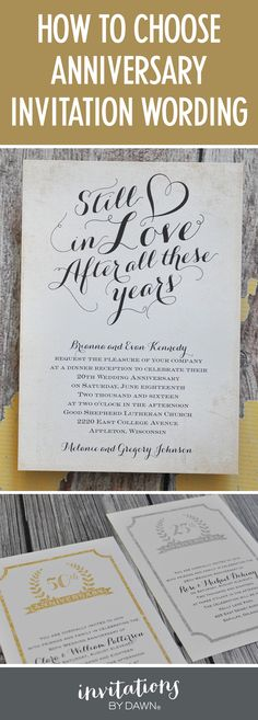 How to word a wedding anniversary party invitation. #50thanniversary #25thanniversary