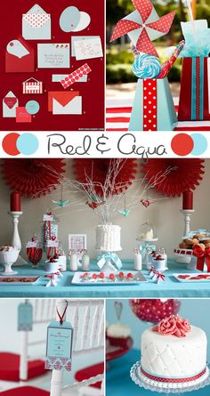 Color Scheme Idea:  Red, aqua & white.  Red items are always easy to find, whether paper products or Valentine's decor.  Aqua gives a pop accent.