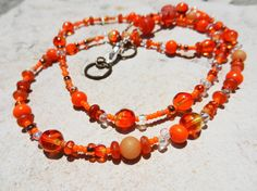 Bright Orange Beaded Ombre Necklace  Long by LivingDesignsbyK, $13.00