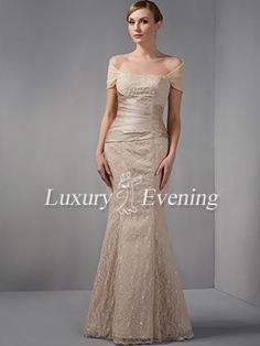 Champagne Mermaid Long Lace Satin Sweetheart Cap Sleeve Evening Dress - US$ 186.99 - Style E0190 - Luxury Evening