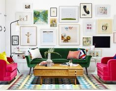Gallery wall and emerald sofa by Emily Henderson / / www.LookNook.co