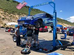 """@1320video on Instagram: """"A portable 2 post lift... on @rockymountainraceweek?! YUP!  Robert with @portablecarhoist will be at each track AND doing the full cruise…"""" Cruise, Monster Trucks, Garage, Track, Instagram, Carport Garage, Runway, Cruises, Garages"""