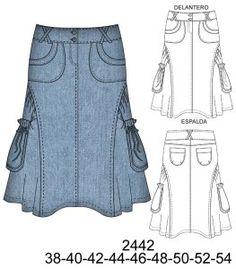 Faldas Sewing Shirts, Skirt Patterns Sewing, Scarf Dress, Skirt Fashion, Rock, Pattern Fashion, Ideias Fashion, High Waisted Skirt, Vintage Fashion