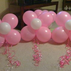 Flower balloons for a baby shower!