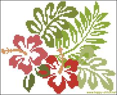 Hibiscus flowers free cross stitch pattern