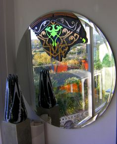 """SHERAZADE"" - Lighting Circle - Signed by the glass art creative Josep SanJuan - Tech.: Glass Fusing with Titanium, Gold & Platinum with a Retro-LED lighting system Diameter:118 cm Weight: 30 kgs. Cat.: Metallic & Dichroic  Ref.:  2013-03-02-00"