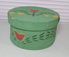 Primitive Folk Art Hand Painted Green Tulip Wood Pantry Box w/ Lid  Signed #NaivePrimitive