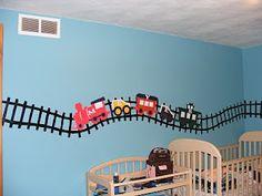 Trains!  Woohoo!  Baby boy nursery train theme