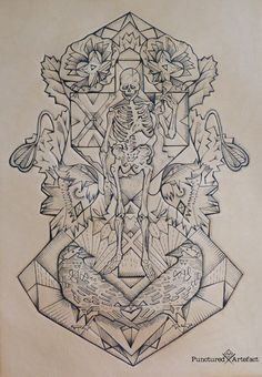 Tattooed Leather Art. Skeleton and ravens by PUNCTURED-ARTEFACT.deviantart.com on @DeviantArt
