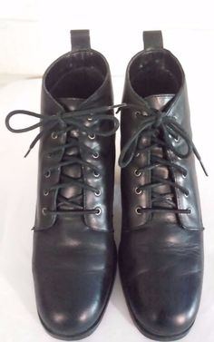 White Mountain Silva Women's Size 8.5B   Black Leather Lace up Ankle Boots 81/2B #WhiteMountain #AnkleBoots #CasualWeartoWork