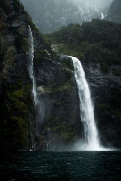 Waterfall in Milford Sound, New Zealand's South Island.