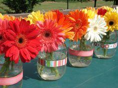gerbera daisies in jars