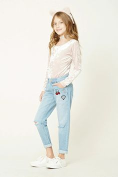 """Forever 21 Girls - A pair of girlfriend jeans featuring various patches including """"Oh, Hello"""", diamond and cherries patch graphics, distressed knees, a five-pocket construction, and a zip fly."""