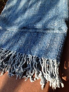Indigo blue handwoven cotton shawl scarf by cottonandloom on Etsy, $46.00