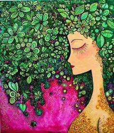 Pintura Romina Lerda Illustrations, Illustration Art, Painting Of Girl, Art Plastique, Face Art, Ceramic Art, Art Girl, New Art, Art Drawings