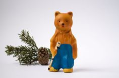 Bear Camper Toy : Soviet Rubber Doll