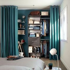 53 Elegant Closet Design Ideas For Your Home. Unique closet design ideas will definitely help you utilize your closet space appropriately. An ideal closet design is probably the only avenue . Curtains For Closet Doors, Bedroom Closet Doors, Bedroom Storage, Bedroom Decor, Curtain Closet, Curtain Wardrobe Doors, Bedroom Ideas, Wardrobe Storage, Bathroom Closet