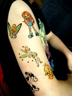 Part 1: Cute as! Cartoon inspired Airbrush tattoo sleeve. With Bratz, Tinkerbell, Tweetie Bird, Sylvester, Pooh & Tigger.