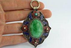 Jade Green Tibetan Inlay Handwork Pendant PENDANT ONLY