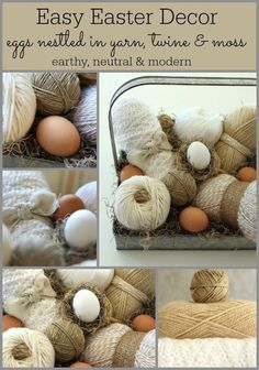 """Easter Basket with yarn, twine & eggs I love yarn…don't know how to knit (yet) so when I buy it as I can't resist, for """"somebody"""" I put it to use until then. What r u going to learn 'someday'?"""