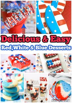 Putting together the Perfect Patriotic Party can be tough. However, the work just got easier with this round up of 20+ Delicious & Easy Red,White & Blue recipes, Perfect for a Patriotic Party. Patriotic Desserts, Blue Desserts, Patriotic Party, Patriotic Crafts, July Crafts, Holiday Cookie Recipes, Holiday Cookies, Holiday Desserts, Holiday Treats