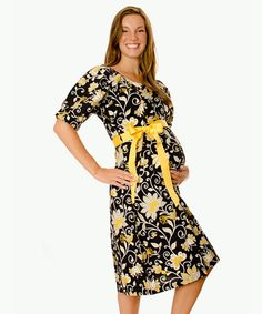 Take a look at this Purple Berry Stork Black & Yellow Delivery Gown by Ready for Baby: Hospital Essentials on #zulily today!