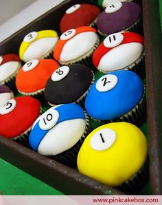 Lindsay made these they were really good  Billiards cup cakes