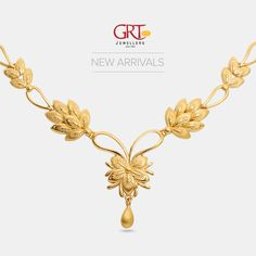 GRT Jewellers is one of the India's foremost jewellery store having an exquisite collection of jewellery in Gold, Diamond, Platinum and Silver created by the finest artisans of India. Also available exclusively in GRT Jewellers Online Jewellery Shopping. Gold Bangles Design, Gold Jewellery Design, Gold Jewelry, Gold Necklace, Short Necklace, Bridal Necklace, Wedding Jewelry, Jewelry Illustration, Jewelry Shop
