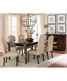 Kelso Dining Set (Dining Table and 6 Side Chairs) - Dining Room Sets - Furniture - Macy's Dining Room Sets, Dining Room Design, Dining Room Table, Dining Room Drapes, Levin Furniture, Expandable Dining Table, Outdoor Dining Furniture, Furniture Makeover, Furniture Ideas