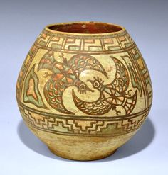 Ancient & Medieval History - Indus Valley Polychrome Jar, Mehrgarh,  c. 3300-1700 BC  A bulbous terracotta vessel with painted polychrome design of geometric panels, two flying birds and two feeding birds