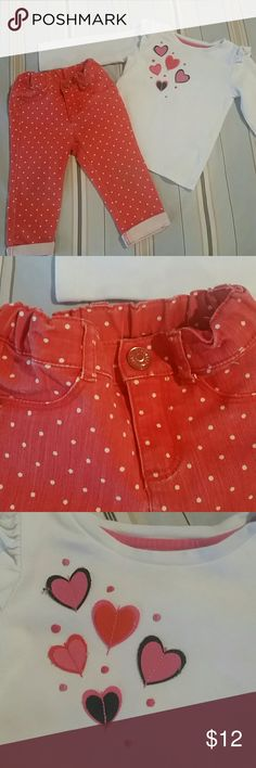 Gymboree outfit 12-18 months Orange with white polka dot jeans, matching heart top Gymboree Matching Sets