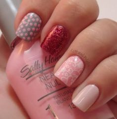 Pink Skittles #skittles #red #grey #pink #dots #dottednails #floral #nails #Nailart #nailpolish #polishaddict - bellashoot.com #nude #peach