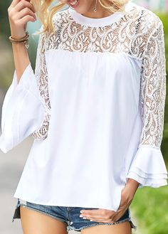 Ideas for sewing clothes tops blouses white lace Stylish Tops For Women, Grey Blouse, Blouses For Women, Women's Blouses, Ladies Blouses, Chiffon, Sewing Clothes, Fashion Outfits, Ladies Fashion