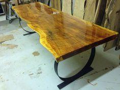 Viva Edge - mesa de madera losa - borde vivo mesa de comedor - mesa de la cocina - vivo borde losa - mesa de comedor de madera losa - Redwood mesa (43)