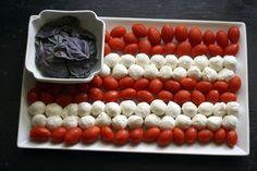 Fresh Tomato, Mozzarella & Basil Flag for the 4th!